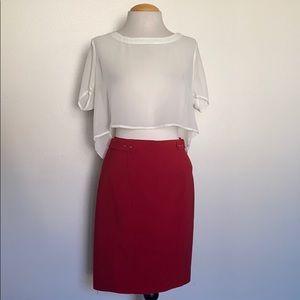White House Black market red skirt